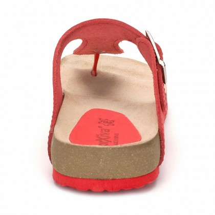 Woman Leather Bio Sandals Cork Sole 8014 Red, by Morxiva Shoes