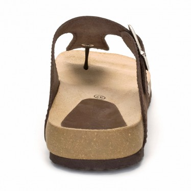 Woman Leather Bio Sandals Cork Sole 8014 Brown, by Morxiva Shoes