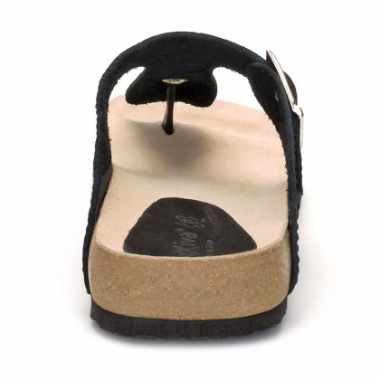 Woman Leather Bio Sandals Cork Sole 8014 Black, by Morxiva Shoes