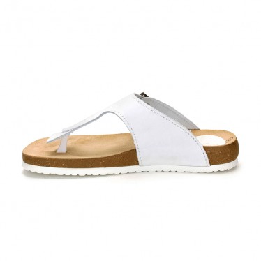 Woman Leather Bio Sandals Cork Sole 8014 White, by Morxiva Shoes