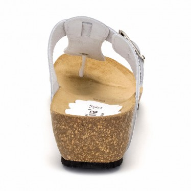 Woman Leather Wedged Bio Sandals Cork Sole 414 White, by Morxiva Shoes