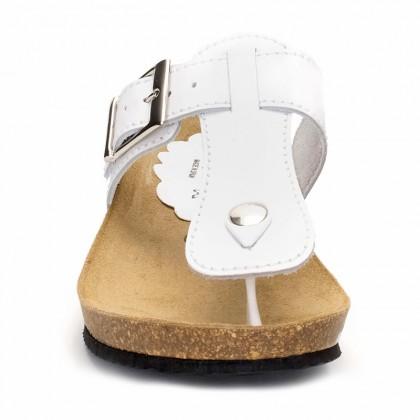 Sandalias Bio Mujer Piel Cuña Piso Corcho 414 Blanco, de Morxiva Shoes