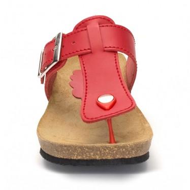Sandalias Bio Mujer Piel Cuña Piso Corcho 414 Rojo, de Morxiva Shoes