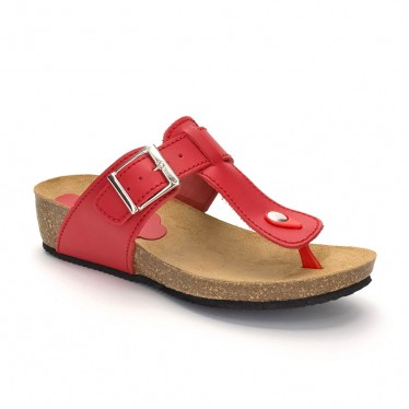 Woman Leather Wedged Bio Sandals Cork Sole 414 Red, by Morxiva Shoes