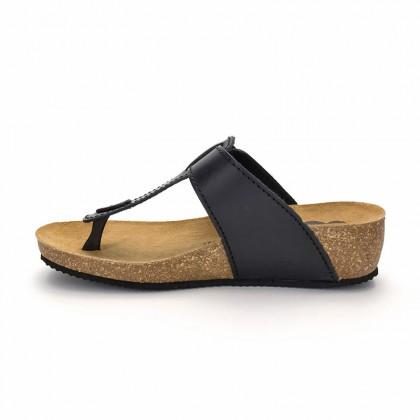 Sandalias Bio Mujer Piel Cuña Piso Corcho 414 Negro, de Morxiva Shoes