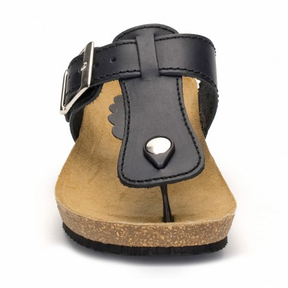 Woman Leather Wedged Bio Sandals Cork Sole 414 Black, by Morxiva Shoes