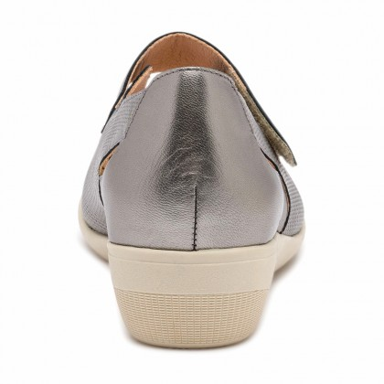 Woman Metallic Leather Wedged Mary Janes 71MET Lead, by TuPie