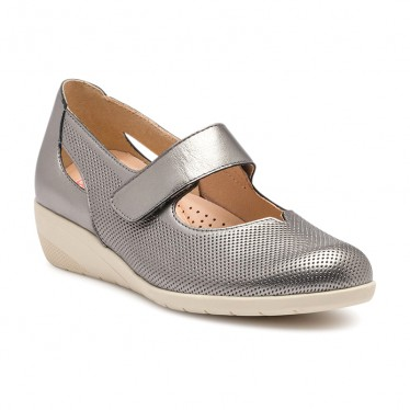 Woman Metallic Leather Wedged Mary Janes Removable Inosle 71MET Lead, by TuPie