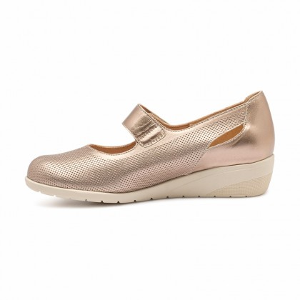 Woman Metallic Leather Wedged Mary Janes 71MET Platinum, by TuPie