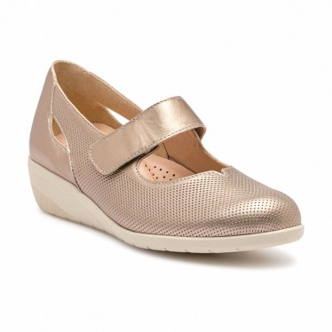 Woman Metallic Leather Wedged Mary Janes Removable Insole 71MET Platinum, by TuPie