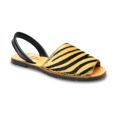 Woman Leather Menorcan Sandals Hair 418AV Tiger, by C. Ortuño