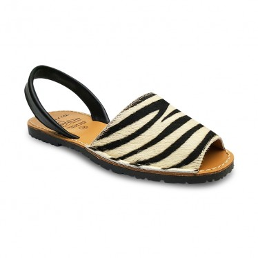 Woman Leather Menorcan Sandals Hair 418AV Zebra, by C. Ortuño