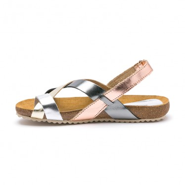 Sandalias Bio Mujer Piel Velcro Piso Corcho 830mx Metal, de Morxiva Shoes