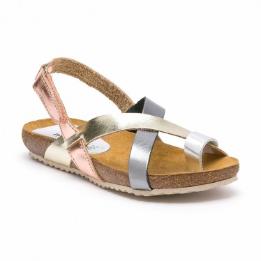 Woman Leather Bio Sandals Velcro Cork Sole 830MX Metal, by Morxiva Shoes
