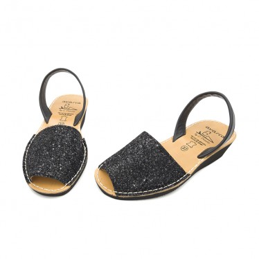 Woman Leather Wedged Menorcan Sandals Glitter 1275 Black, by C. Ortuño