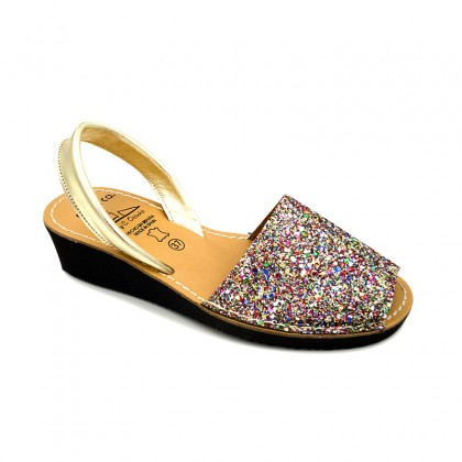 Woman Leather Wedged Menorcan Sandals Glitter 1275 Multi, by C. Ortuño