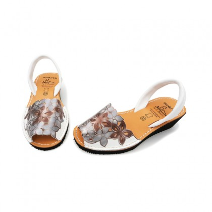 Woman Engraved Leather Wedged Menorcan Sandals 1287 White, by C. Ortuño