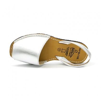 Woman Metallic Leather Menorcan Sandals 190AV Silver, by C. Ortuño