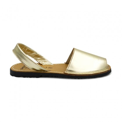 Woman Metallic Leather Menorcan Sandals 190AV Gold, by C. Ortuño