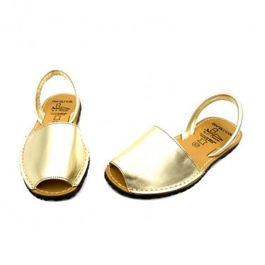Woman Metallic Leather Menorcan Sandals 190AV Gold, by C. Ortuño