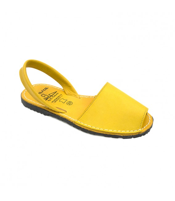 Woman Leather Menorcan Sandals Colour Insole 2010-S Yellow, by C. Ortuño