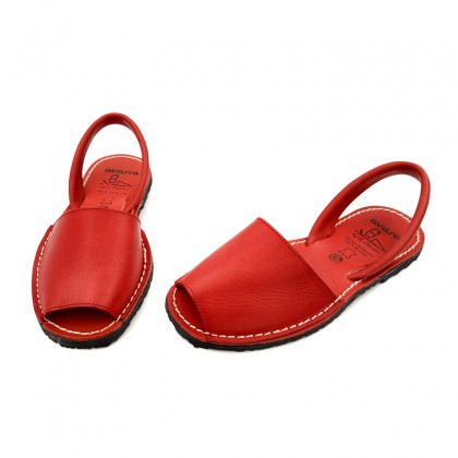 Woman Leather Menorcan Sandals Colour Insole 2010-S Red, by C. Ortuño