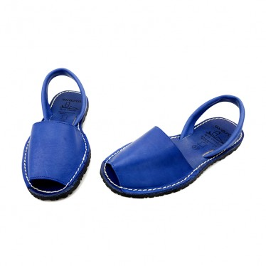 Woman Leather Menorcan Sandals Colour Insole 2010-S Blue, by C. Ortuño