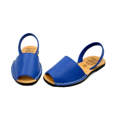 Avarcas Menorquinas Mujer Piel Básica 201-S Azul, de C. Ortuño