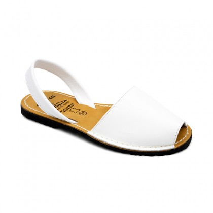 Woman Leather Basic Menorcan Sandals 201-S White, by C. Ortuño