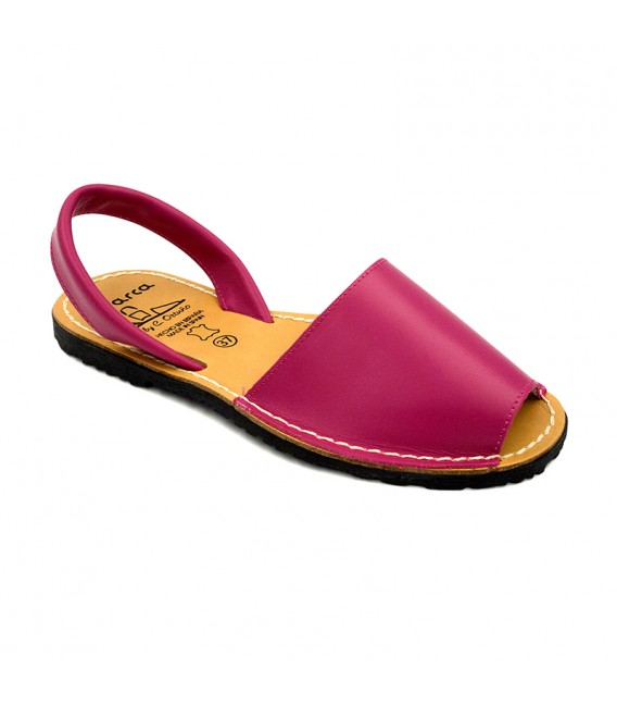 Woman Leather Basic Menorcan Sandals 201-S Fuchsia, by C. Ortuño