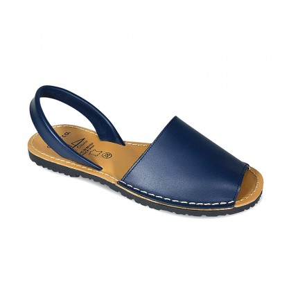 Woman Leather Basic Menorcan Sandals 201-S Navy, by C. Ortuño