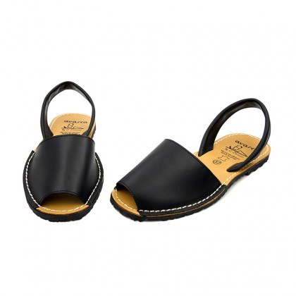 Woman Leather Basic Menorcan Sandals 201-S Black, by C. Ortuño