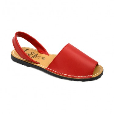 Woman Leather Basic Menorcan Sandals 201-S Red, by C. Ortuño