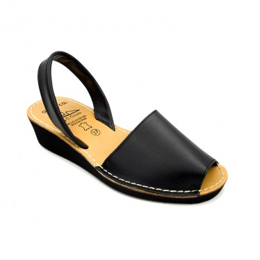 Woman Wedged Leather Basic Menorcan Sandals 211ME Black, by C. Ortuño