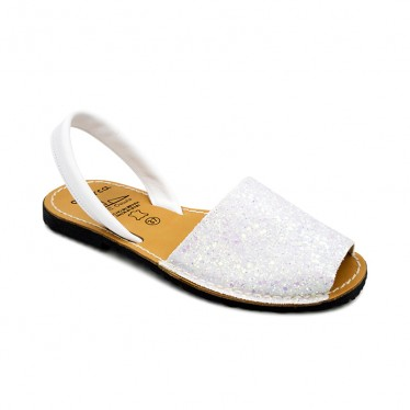 Woman Glitter Leather Menorcan Sandals 275GLI-1 White, by C. Ortuño
