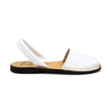 Woman Glitter Leather Menorcan Sandals 275GLI-1 White, by C. Ortuño