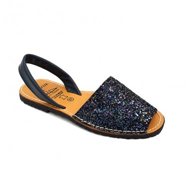 Woman Glitter Leather Menorcan Sandals 275GLI-1 Navy, by C. Ortuño