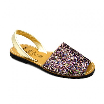 Woman Glitter Leather Menorcan Sandals 275GLI-1 Multi, by C. Ortuño