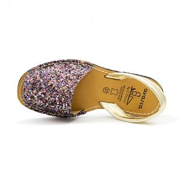 Woman Glitter Leather Menorcan Sandals 275GLI-1 Multi, by C. Ortuño