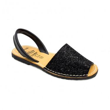Woman Glitter Leather Menorcan Sandals 275GLI-1 Black, by C. Ortuño