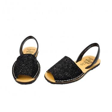 Woman Glitter Leather Menorcan Sandals 275GLI-1 Black, by C. Ortuño