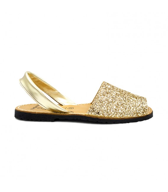 Woman Glitter Leather Menorcan Sandals 275GLI-1 Gold, by C. Ortuño