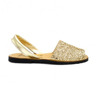 Woman Glitter Leather Menorcan Sandals 275GLI-1 Gold, by C. Ortuño