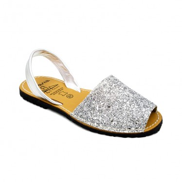 Woman Glitter Leather Menorcan Sandals 275GLI-1 Silver, by C. Ortuño