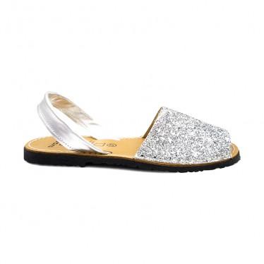 Woman Glitter Leather Menorcan Sandals 275GLI-1 Silver, by C. Ortuño
