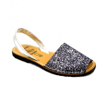 Woman Glitter Leather Menorcan Sandals 275GLI-1 Lead, by C. Ortuño