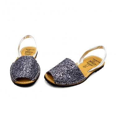 Woman Glitter Leather Menorcan Sandals 275GLI-1 Lead, by C. Ortuño