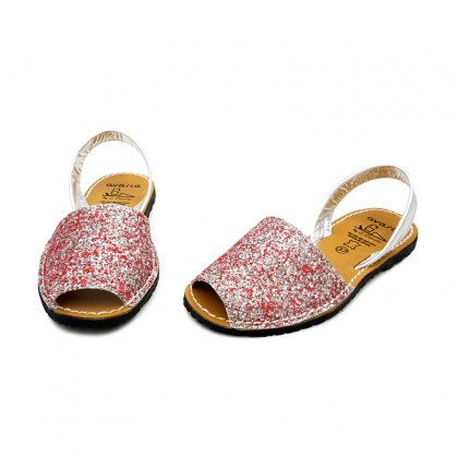 Woman Glitter Leather Menorcan Sandals 275GLI-1 Pink, by C. Ortuño