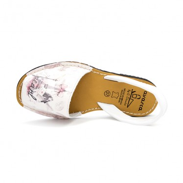 Woman Leather Menorcan Sandals Eiffel Tower 331AV White, by C. Ortuño