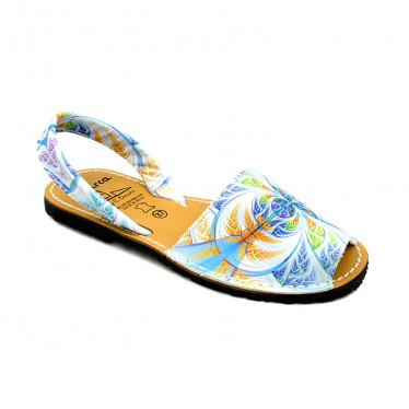 Woman Leather Menorcan Sandals Floral Print 334AV Multi, by C. Ortuño